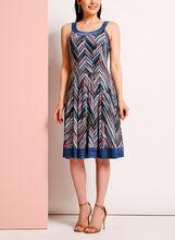 Zig Zag Print Fit & Flare Dress, Blue, hi-res