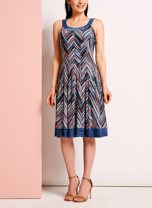Zig Zag Print Fit & Flare Dress, Blue, hi-res