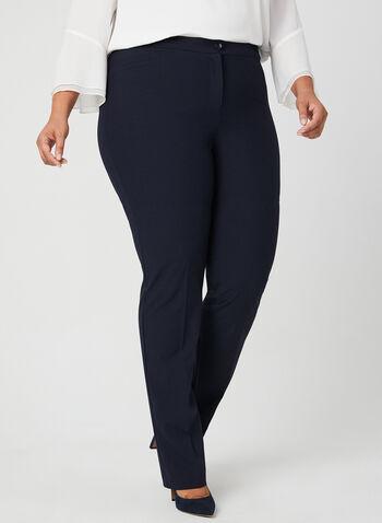 Pantalon coupe signature à jambe droite, Bleu, hi-res,