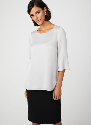 Ruffle Sleeve Top, Silver, hi-res