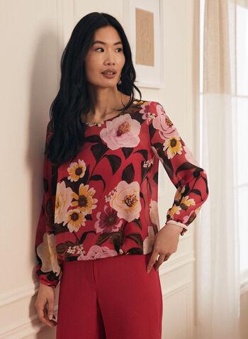 Blouse en mousseline fleurie, Rose,  haut, blouse, manches ballon, fleurs, col dégagé, camisole, printemps été 2020