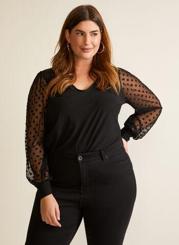 Polka Dot Chiffon Sleeve Blouse, Black,  blouse, crepe, chiffon, polka dot, bishop sleeves, v-neck, fall winter 2020