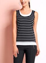 Stripe Cotton Faux Layered Camisole, Black, hi-res