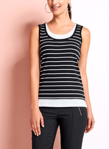 Stripe Cotton Faux Layered Camisole, , hi-res