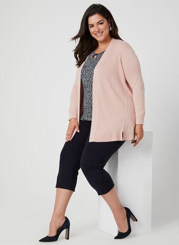 Cardigan ouvert en tricot texturé, Rose,  cardigan long, veste longue, haut ouvert, manches longues, automne hiver 2019