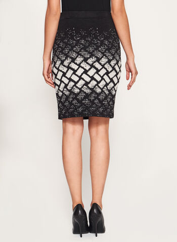 Geometric Print Knit Pencil Skirt, , hi-res