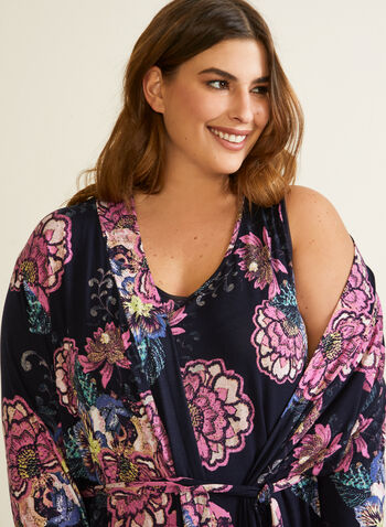 Robe de nuit et peignoir à motif fleuri, Bleu,  automne hiver 2020, pyjama, ensemble, robe de nuit, peignoir