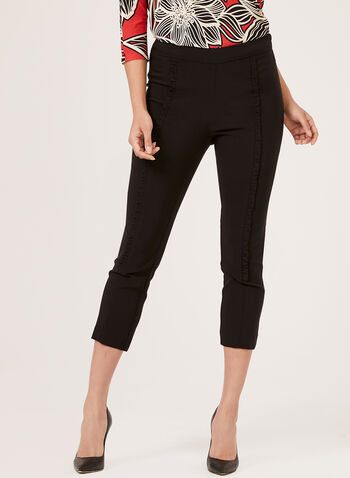 Ruffle Trim Pull-On Capris, Black, hi-res