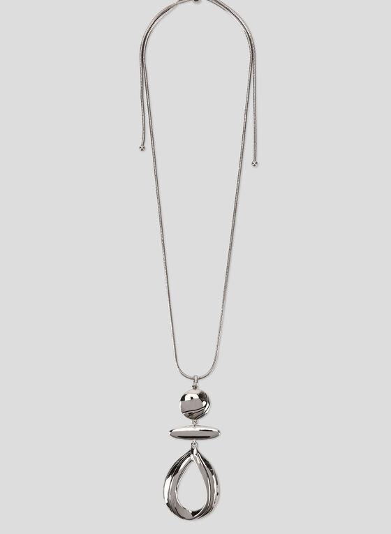 Adjustable Pendant Necklace, Silver, hi-res