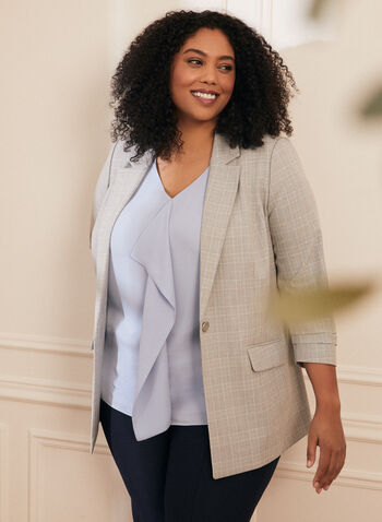 Plaid Print Suit Jacket, Grey,  plaid print, plaid, jacket, plaid jacket, suit, suiting, pantsuit, one button jacket, 3/4 sleeves, spring 2020, summer 2020