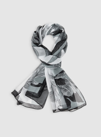 Floral Print Scarf, Black,  scarf, lightweight, chiffon, floral, fall 2019, winter 2019