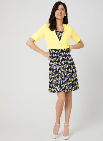 Floral Print Dress & Bolero, Yellow, hi-res,  sleeveless, fit & flare, jersey, spring 2019