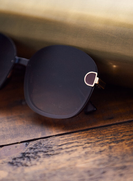 Temple Detail Round Sunglasses, Brown