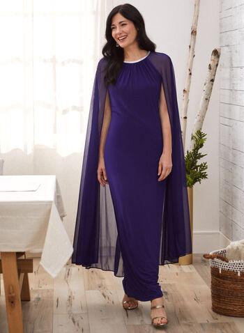 Cleo Neck Rhinestone Detail Dress, Blue,  fall 2021, dress, long, occasion dress, evening dress, cleo neck, neckline, rhinestone, details, trim, embellished, pleated, pleats, long, sheer, chiffon, cape, comfy, jersey, fabric