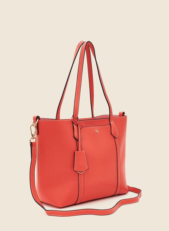 Topstitch Detail Faux Leather Handbag, Orange