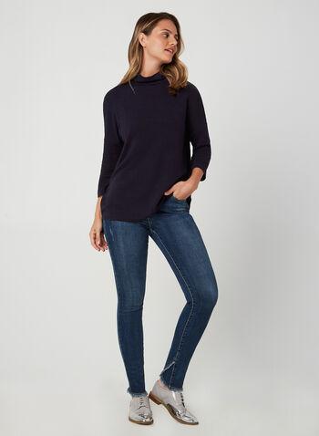 Haut en tricot ottoman et col montant, Bleu,  haut, manches 3/4, col montant, tricot ottoman, automne hiver 2019