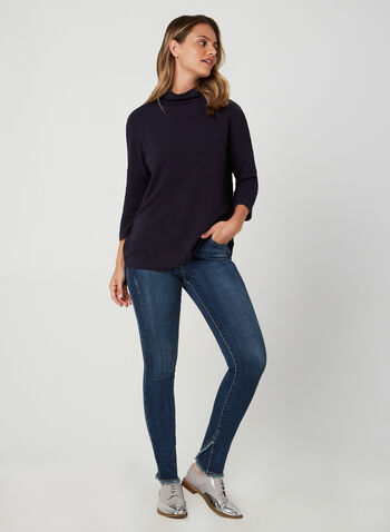 Mock Neck Hi-Low Top, Blue, hi-res,  Canada, top, ottoman knit, 3/4 sleeves, mock neck, high-low hem, fall 2019, winter 2019