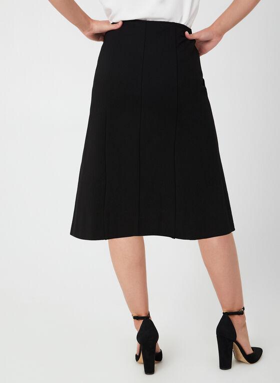 Jupe droite à détail zippé, Noir