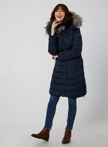 Bernardo - Quilted Faux Down Coat, Blue,  coat, quilted, removable hood, front pockets, faux fur trim, Bernardo, fall 2019, winter 2019