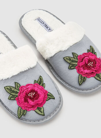 Ellen Tracy - Fleece Trim Slippers, Grey, hi-res