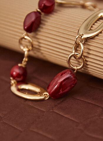Collier court à maillons dorés et résine, Rouge,  collier, accessoire, bijou, court, maillons, larges, billes, résine, fermoir mousqueton, ovale, rond, deux tons, métal, doré, automne 2021