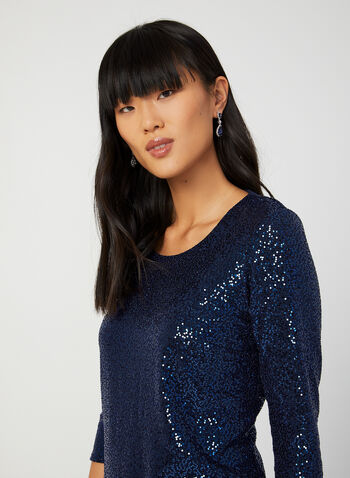 ¾ Sleeve Sequin Top, Blue, hi-res,  canada, 3/4 sleeves, sequin top, top, sequins, holiday, fall 2019, winter 2019