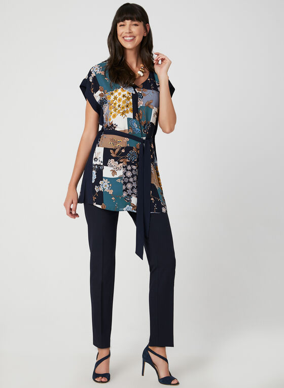 Belted Chiffon Top, White, hi-res