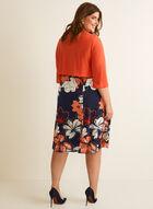 Robe fleurie et cardigan plissé, Orange