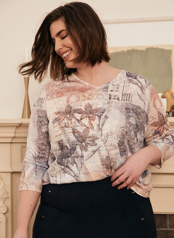 Mixed Print Rhinestone Detail Top, Blue,  top, 3/4 sleeves, lace, cutout, rhinestones, burnout, print, fall winter 2020
