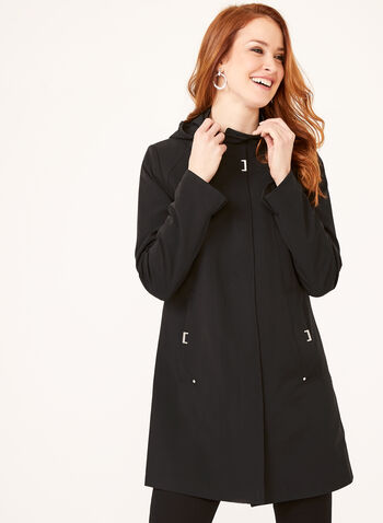 Hooded A-Line Raincoat, Black, hi-res