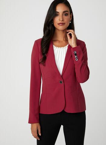 Veste tailleur à un bouton, Rouge, hi-res