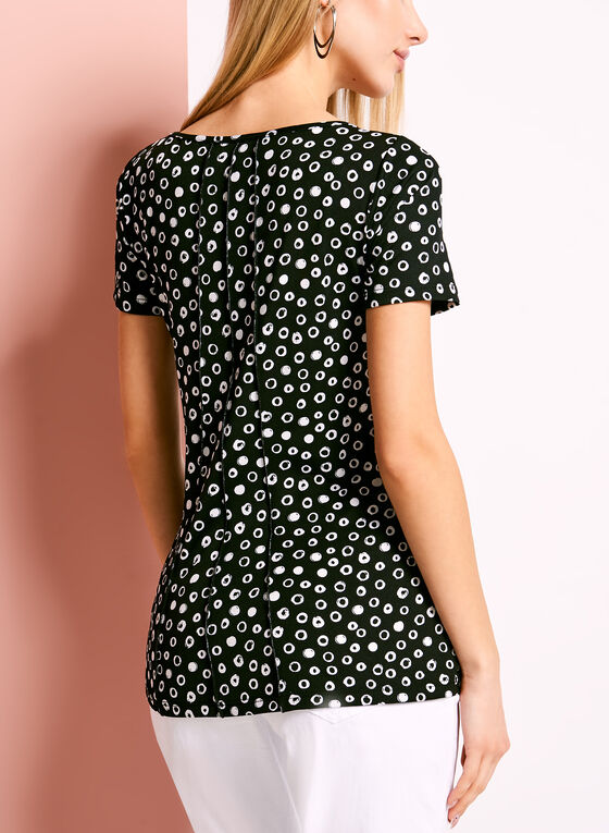 Scoop Neck Graphic Dot Print T-Shirt, Black, hi-res