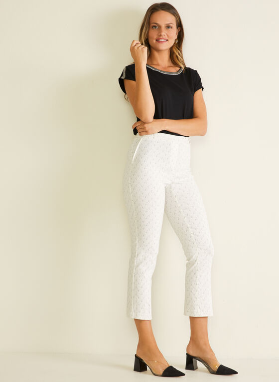Abstract Print Pull-On Capris, White
