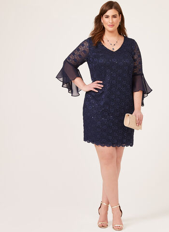Bell Sleeve Lace Dress, Blue, hi-res