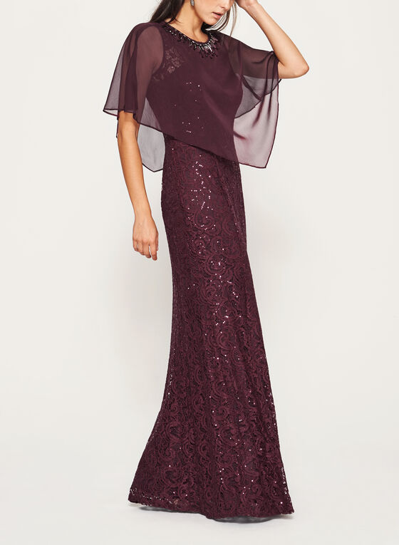 Sequin Lace Dress with Chiffon Poncho  , Red, hi-res