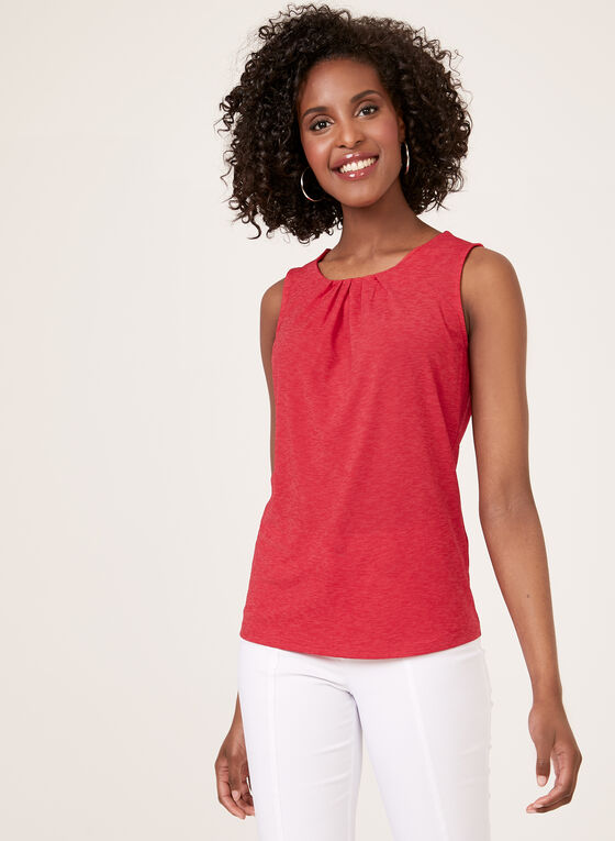 Scoop Neck Sleeveless Blouse, Red, hi-res
