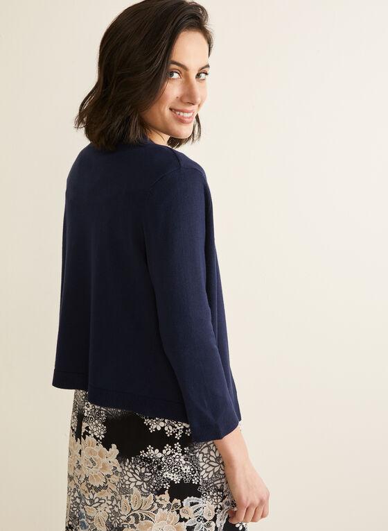 Boléro tricoté à manches ¾, Bleu