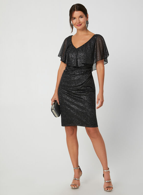 Short Metallic Glitter Dress, Black