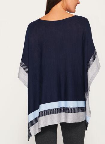 Poncho tricoté à blocs de couleurs, Bleu, hi-res