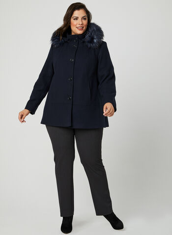 Faux Fur Trim Wool Coat, Blue, hi-res