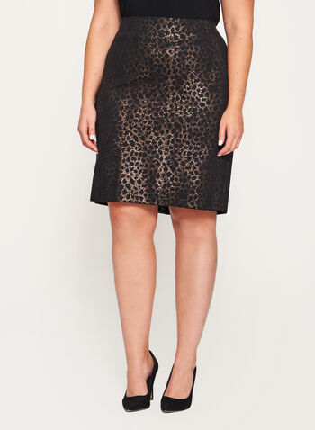 Foil Animal Print Ponte Skirt, Black, hi-res