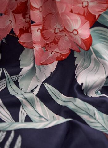 Foulard carré à motif floral et bordure unie , Bleu,  foulard, fleurs, effet soie, carré, printemps été 2021