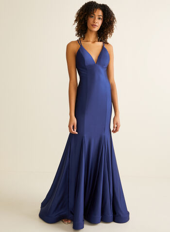 Satin Mermaid Dress, Blue,  prom dress, sleeveless, mermaid, satin, v-neck, lace-up, open back, crinoline, spring summer 2020