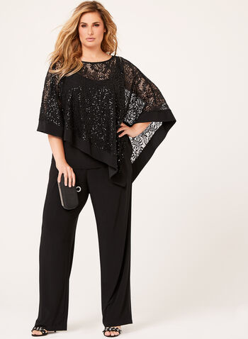 Sequin Poncho Pantsuit, Black, hi-res