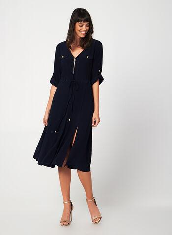 Jersey Midi Dress, Blue,  midi dress, jersey, v-neck, drawstring, golden zipper, 3/4 convertible sleeves, fall 2019