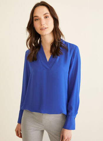 Crepe V-Neck Blouse, Blue,  blouse, long sleeves, crepe, V-neck, tunic, spring 2020