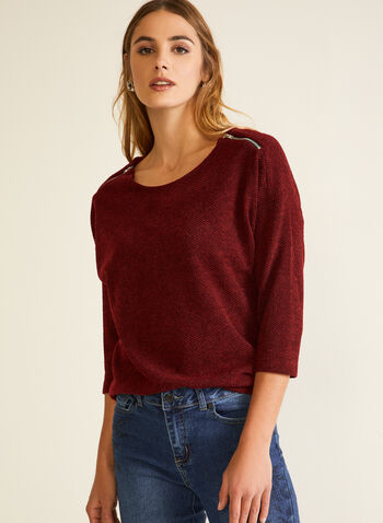 Knit Shoulder Zip Top, Red,  Fall winter 2020, top, made in canada, zipper, dolman sleeves, 3/4,