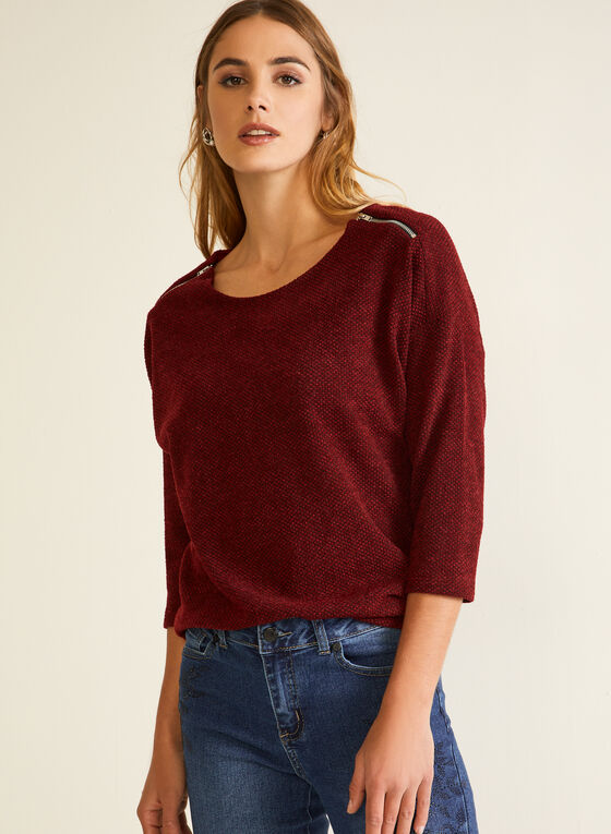 Knit Shoulder Zip Top, Red