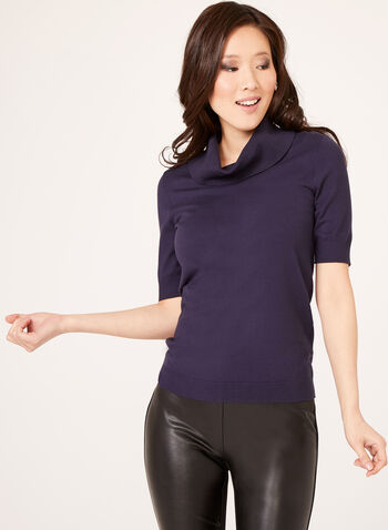 Short Sleeve Cowl Neck Sweater , Purple, hi-res