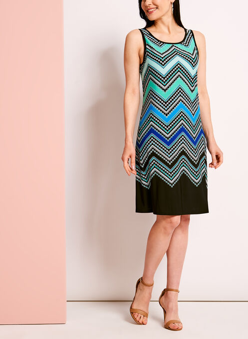 Graphic Zig Zag Print Trapeze Dress, Black, hi-res